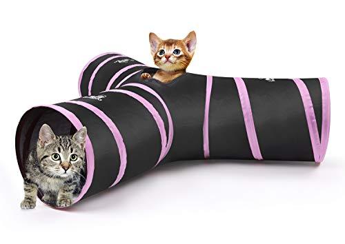 Pawaboo Katze Tunnel - Faltbar 3 Wege Katzentunnel Cat Play Tunnel Spieltunnel Rascheltunnel Katzenspielzeug mit Pompon und Glocken für Hunde, Welpeln, Kaninchen, Schwarz und Hellrosa