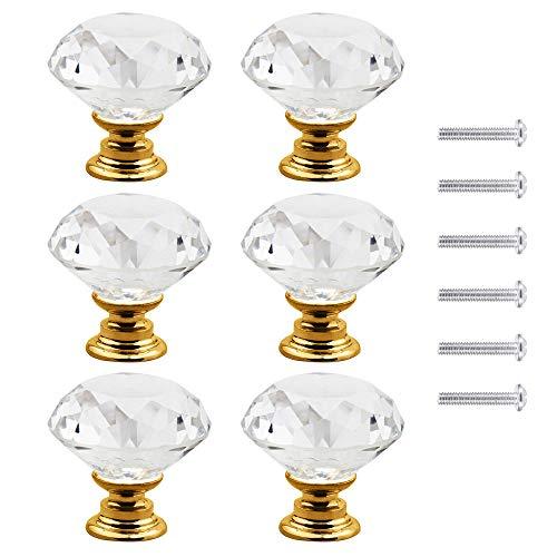 Dtoterul pomelli diamante 6 Pezzi Pomelli per Mobili Oro Pomelli Cucina Pomelli per Cassetti Pomelli Vetro Cristallo Maniglie Cassetti Mobili Armadio Pomelli,con viti,30mm,Oro