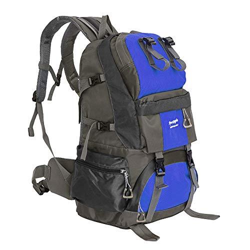 登山バッグ バックパック大容量 リュックサック 50L背中通気 防災 リュック 旅行 登山 防水 軽量 通気性ビジネスリュックメンズ 通学 通勤 スポーツ バッグ アウトドア バッグ 収納性抜群 多機能 バッグ 男女兼用(ブルー)