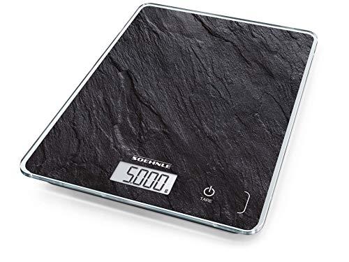 Soehnle Page Compact 300 Slate, digitale Küchenwaage, Schiefermuster, Gewicht bis zu 5 kg, Haushaltswaage mit patentierter Sensor-Touch-Funktion, elektronische Waage inkl. Batterien, schiefer