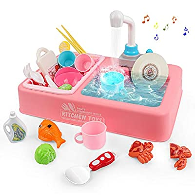 Rabing Pretend Play Kitchen Sink Toy Set with R...