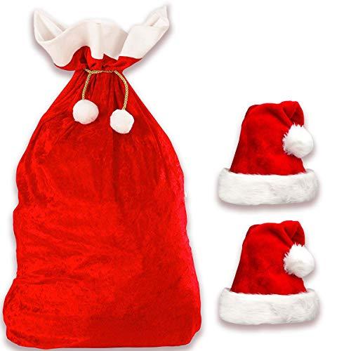 Jonami Weihnachtssack + 2 Weihnachtsmütze in Plüsch, XXL Nikolaussack Weihnachtsmann Sack Santa Sack Geschenkesack Weihnachtsmannsack für Geschenke + 2 Nikolausmütze Weihnachtsmann Mütze Rot