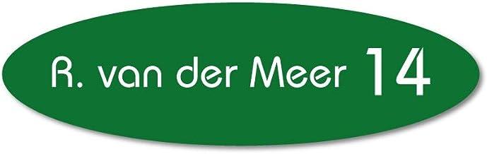 Naamplaatje groen ovaal t.b.v. brievenbus, 10x3 cm