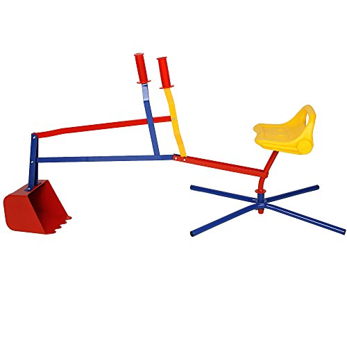Sandbagger Sitzbagger 126,5 x 35,5 x 58,5 cm Kippschaufel 360° Radius bis 40kg Metall Sandkastenbagger Sandspielzeug Sandkasten