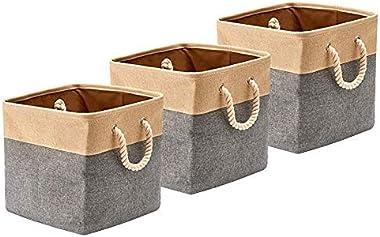 BeigeSwan Cesta de almacenamiento de tela de lona plegable [juego de 3] cubos organizadores plegables con asas de cuerda de a