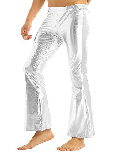 Tiaobug Herren Glänzend Wetlook Leder Hose Metallic Pants Schlaghose Faschingskostüme Party Tanzen Disco Clubwear in Silber Gold Schwarz...