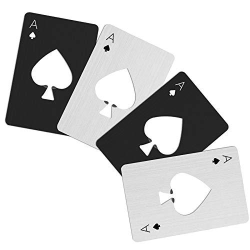 4 Stks Credit Card Size Poker Fles Opener Bar RVS Bier Fles Opener Kit Metaal Draagbare Bars Restaurants Zwart en Silvery