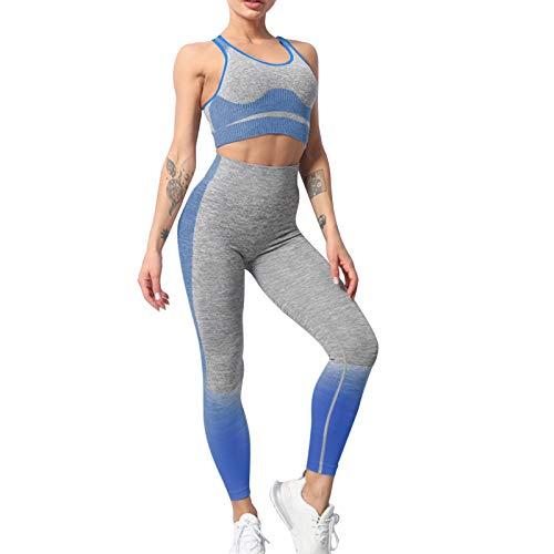 MUYOGRT Chándal de deporte para mujer, chándal de 2 piezas, traje deportivo para yoga, tiempo libre, deporte, chándal de 2 piezas, azul cobalto, S