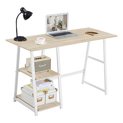 Aingoo Computer Desk with 2 Shelves for Storage Modern Writing Desk with Metal Frame for Home Office,Easy to Assemble,OAK