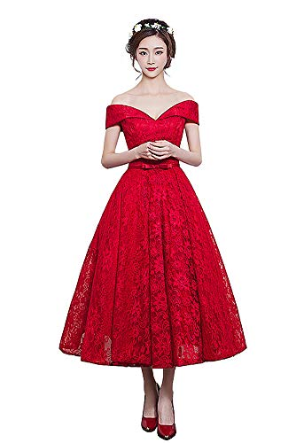 Off The Shoulder Party Dress Tea Length Lace Bridesmaid Dress Free Custom-Red XXL