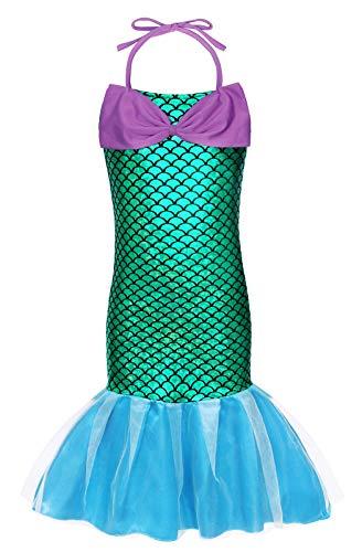 AmzBarley Il Costume della Sirenetta Ariel Vestito vestirsi Ragazze Bambine Coda di Pesce Costumi di Halloween Vestiti Compleanno Carnevale Vacanza Abiti