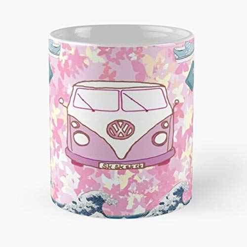 Pink Vsco Girl Bus Butterfly Butterflies Waves Surf Best Taza de café de cerámica de 315 ml Eat Food Bite John Best Taza de café de cerámica de 315 ml