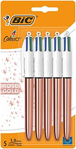 BIC 4 penne a sfera a 4 colori con 4 colori integrati: blu, nero, rosso, verde (spessore tratto 0,4 mm), confezione da 5