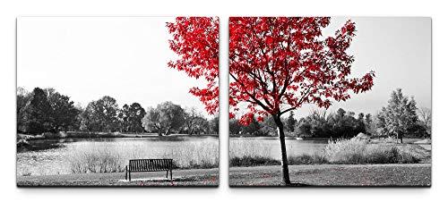SIN-US 74 Parkbank unter einem Baum Bild Leinwand fertig auf Rahmen 2 Bilder a 50x60cm