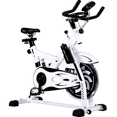 AYHa Cubierta de bicicleta de ejercicios, la rotación de bicicletas silencioso Pantalla LCD Resistencia ajustable espesado de la viga principal apto para uso interior ejercicio aeróbico,Blanco