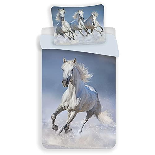 20BS230 - Copripiumino con cavallo bianco, 100% cotone, 140 x 200 cm + 70 x 90 cm