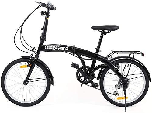 Bicicletta pieghevole da 20 pollici, 7 marce, con lampada a LED di supporto posteriore, pieghevole, colore nero