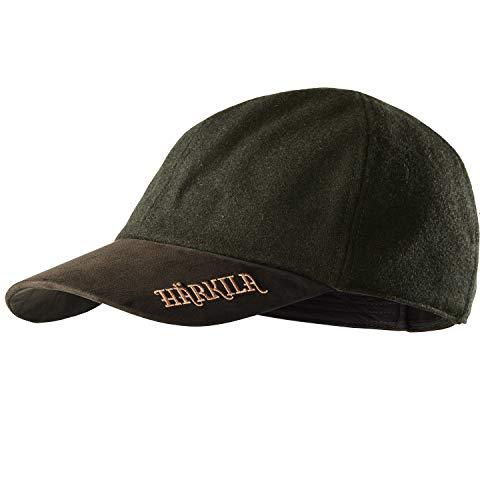 Härkila Gorra impermeable Metso Active Cap con acabado Bionic Finish® verde – Gorra de visera silenciosa y ligera para cazadores de lodo / lana con logotipo bordado Willow Green Large/X-Large