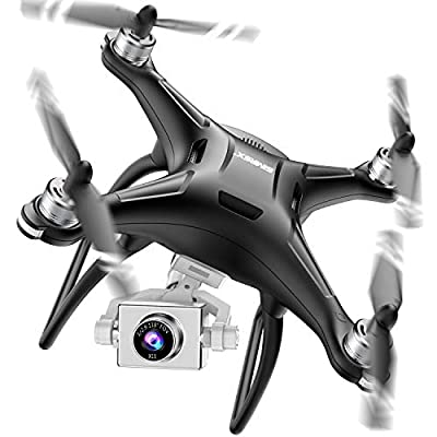 SIMREX X11 Upgraded GPS Drone 1080P HD Camera 2-Axis Self stabilizing Gimbal 5G WiFi FPV Video RC Quadcopter Auto Return with Follow Me Altitude Hold Headless Brushless Motor Remote Control Black