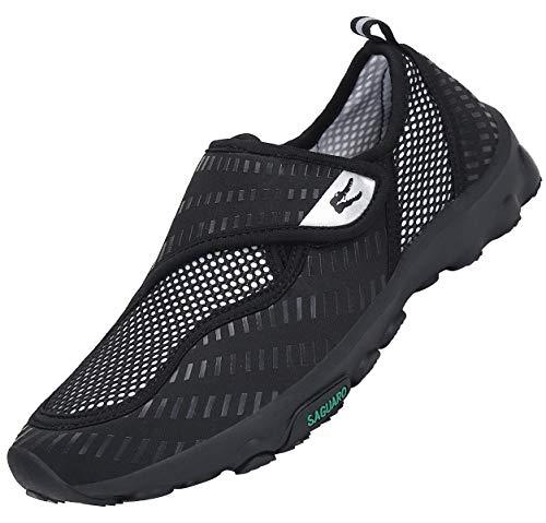 SAGUARO Sommerschuhe Leichte Freizeitschuhe Badeschuhe Herren Aquaschuhe Damen Wasserschuhe Outdoor Fitness Walking Sneakers,Neu2-Schwarz 43 EU