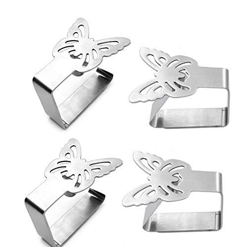 Mobiut Edelstahl Tischdeckenclips,4 Stück Tischdeckenbeschwerer Tischdeckenklemmen, Schmetterling Tischdecke Clips