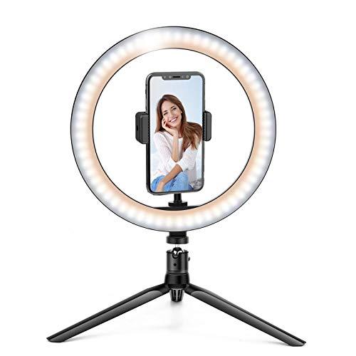Anel de Luz LED 26 cm + Tripé, Beemoon Selfie Ring Light com suporte para tripé Suporte universal para telefone Controle remoto Bluetooth Potência USB para maquiagem de transmissão ao vivo YouTube TikTok