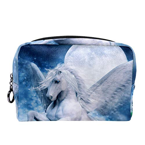 Makeup Toiletry Bag for Women Girls Purse Cosmetic Travel Kit Organizer Oil Painting Unicorn Lake