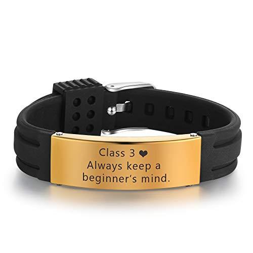 Personalized Mens Stainless Steel Bracelets Custom Names Couple Bracelet Cheap Adjustable Alert Bracelets (Black-gold)