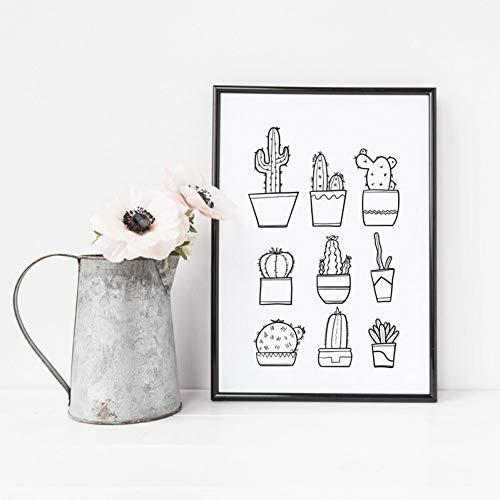 GASFG bloempot cactus canvas kunstdruk schilderij posters, bloempot plant muurschildering decoratie Gerahmt 60x80cm