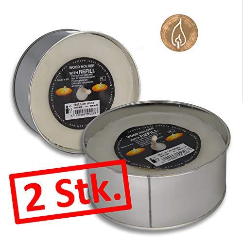 Ersatz Kerze 2 Stück für rustikale Outdoorkerze Gartenkerzen Kerze/ca. 12 Std. Brenndauer/Nachfüll-Pack xxl Teelicht