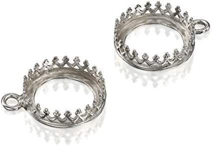 Oxidized 925 Sterling Silver 12 mm Bezel Round Crown Setting with Loop Findings for Pendants product image