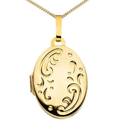 Medaillon Hochglanz verziert oval 333 Gelbgold 8 Karat Gold zum Öffnen für Bildereinlage 2 Fotos Amulett Verzierung von Haus der Herzen® + Kette mit Schmuck-Etui