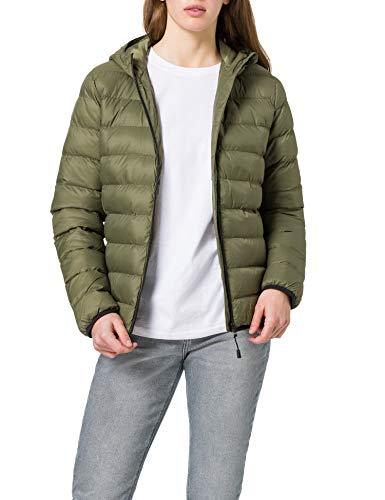 Amazon-Marke: MERAKI Damen Gesteppte Jacke mit Kapuze, Grün (Khaki), 36, Label: S