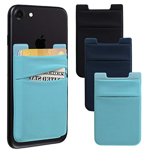 Phone Card Holder, Stretchy Lycra Stick on Wallet Pocket Credit Card ID Case Pouch Sleeve 3M Adhesive Sticker for Back Compatible with iPhone Samsung Galaxy Smartphones 3Pack - Black/Blue/Green