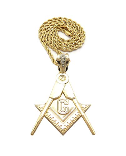 New Freemason Compass Pendant 4mm/24 Rope Chain Necklace RC4045 (Gold)