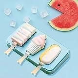 Queta Molde de silicona para helado Moldes de Polos de Helados Reutilizable para niños Molde para Hacer Paletas de Helados con tapa y seis varillas (azul)