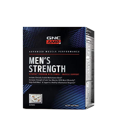 GNC AMP Men's Strength Vitapak, 30 Packs, Increases Strength and Helps Build Mass