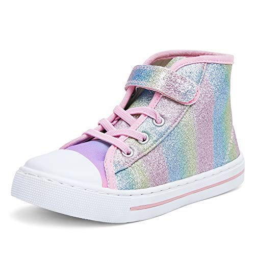 K KomForme Toddler Boys and Girls Sneakers Canvas High-top Sneakers Kids Lace up Walking Shoes