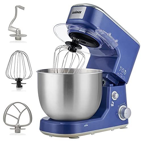 CUSIMAX Stand Mixer Tilt-Head Eletric Mixer with 5Qt Stainless Steel Bowl Dough Mixer with Beater, Whisk, Hook Electric Stand Mixer, Sapphire Blue