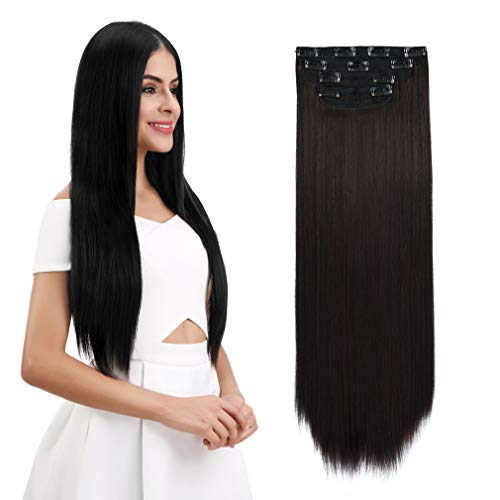 "REECHO 24"" Straight Long 4 PCS Set Thick Clip in on Hair Extensions Dark Brown"