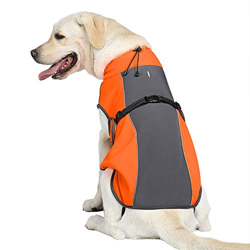 Cold Weather Dog Coat Fleece Lining Warm Dog Jacket Waterproof Adjustable Dog Winter Vest Night Reflective Dog Apparel with Harness & Leash Hole, Orange & Gray, For Small, Medium, Large Dogs, Medium