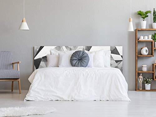 Cabecero Cama PVC Triángulos Blancos y Negros 135x60cm | Disponible en Varias Medidas | Cabecero...