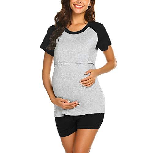 ❤ Vêtement de La Allaitement, Solike Ensemble de Vêtement T-Shirt et Short de Maternité Grossesse Tops de Maternité Enceinte Femme Maternité Tee Shirt de Grossesse (2XL, Noir)