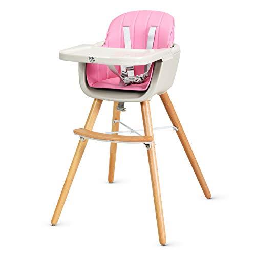 Costway - Trona de madera para bebé, trona para niños, trona para escaleras, trona combinada, trona de madera para niños, con mesa de comedor ajustable rosa Rosa. Talla:59 x 54 x 88cm