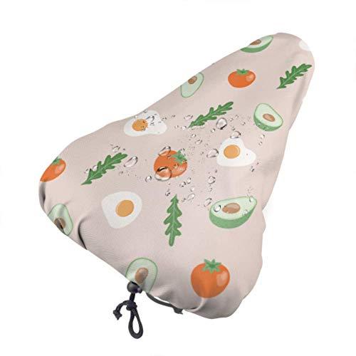 Zemivs Girly Sitzschutz Spiegeleier Toastbrot Tomate Custom Sitzbezüge Fahrrad Kindersitz Regenbezug Mit Kordelzug, Regen- und Staubbeständig für die meisten Fahrradsättel