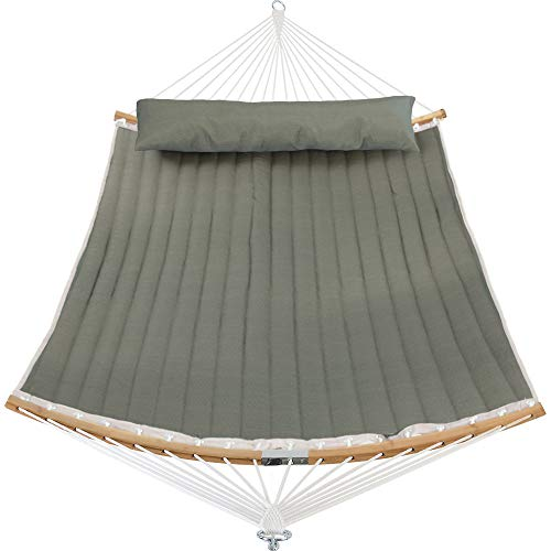 Patio Watcher 11 Feet Quilted Fabric Hammock with Curved-Bar Bamboo and Detachable Pillow, Double Hammock Perfect for Patio Yard Dark Green