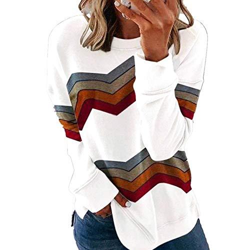 Damen Sweatshirt Irregulär Streifen Rundhals Lange Ärmel Mantel Pulli Bluse Top Pullover Oberteile Shirt Tunika Lässige Strickpullover Loose Sweater