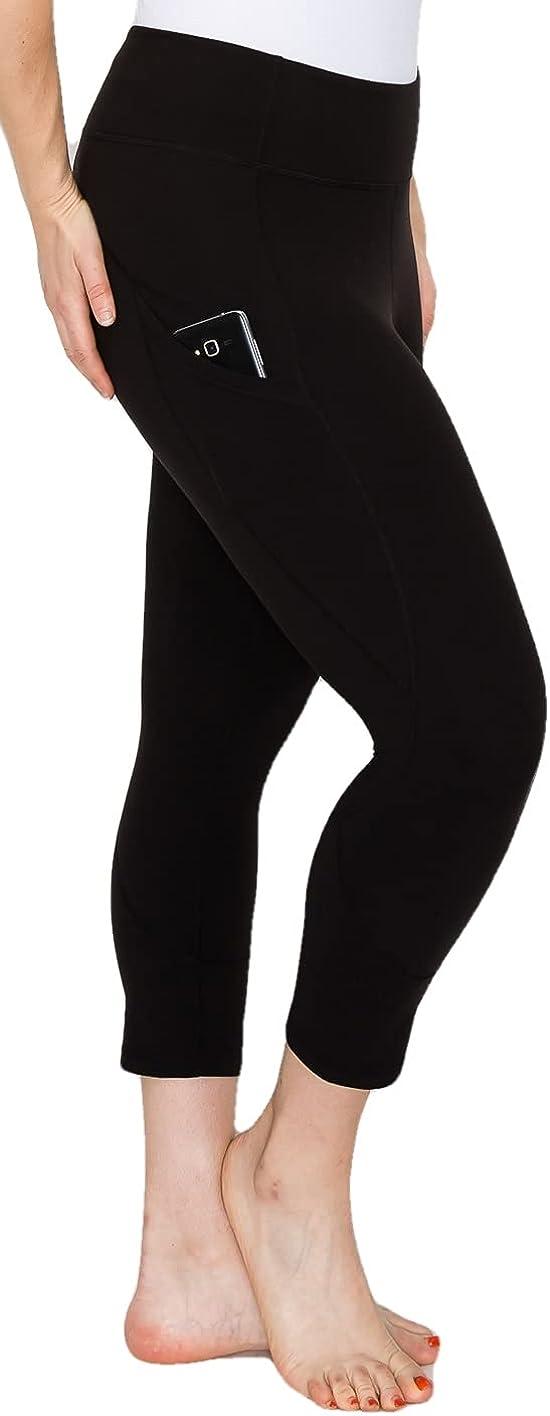 YOGALANDUSA Women's Yoga Capri Leggings – Plus Size High Waisted 4 Way Stretch with Side Pocket Basic Workout Active Pants
