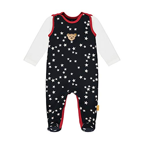 Steiff Baby-Mädchen mit süßer Teddybärapplikation Set Strampler + T-Shirt Langarm, Navy, 068