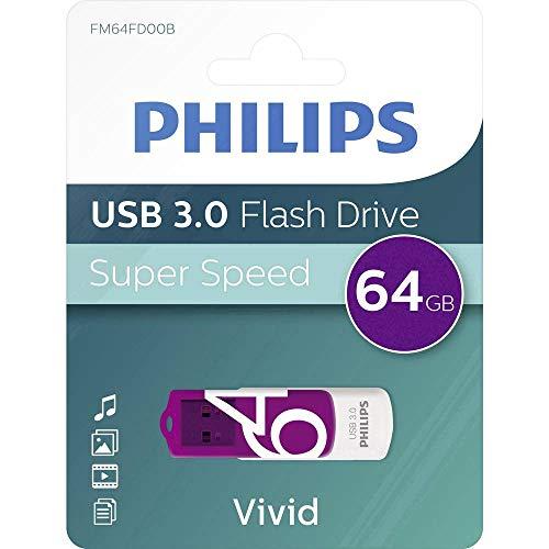 Philips Vivid 3.0 USB Stick 64GB - High Speed Design Speicherstick 64 GB - Lesen: 120MB/s, Schreiben: 20MB/s